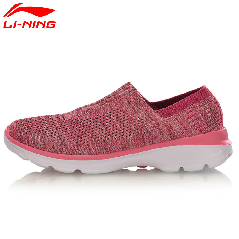 Li-Ning Original Women Easy Walker Walking Summer Shoes Textile Breathable Sneakers Light Fitness LiNing Sports Shoes AGCM112 li ning women walking shoes light weight textile