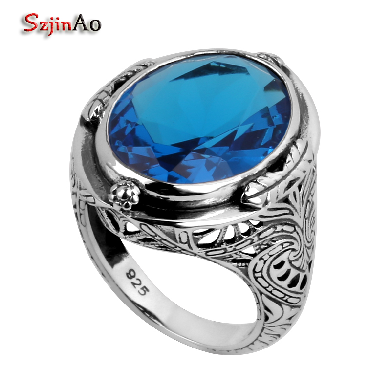 Szjinao Love Big Rings for Women Wholesale Flower Oval Blue Zircon Crystal Vintage Ring 925 Sterling Silver Jewelry