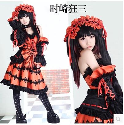 Anime DATE A LIVE cosplay Tokisaki Kurumi harujuku cos halloween party full set 4in1 Dresses Headwear