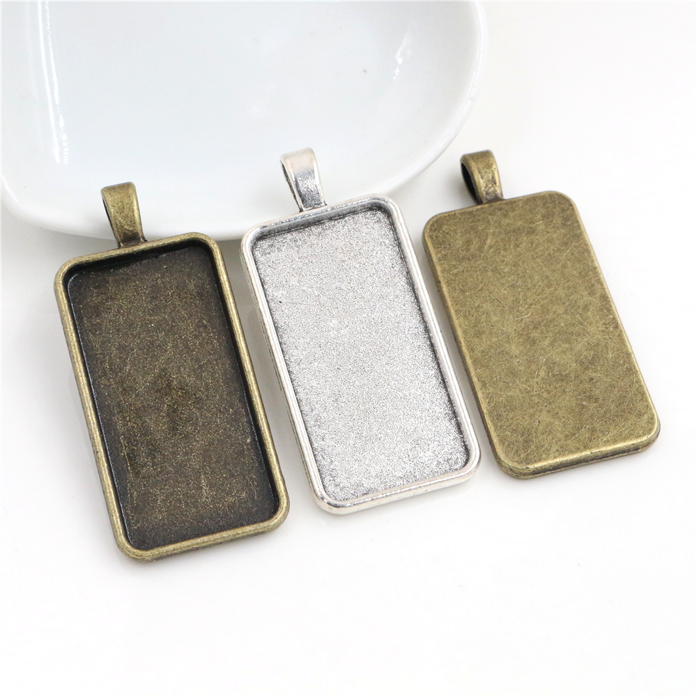 New Fashion 5pcs 19x38mm Inner Size Rectangle Cabochon Base Setting Charms Pendant,Fit 19*38mm Rectangle Glass Cabochons