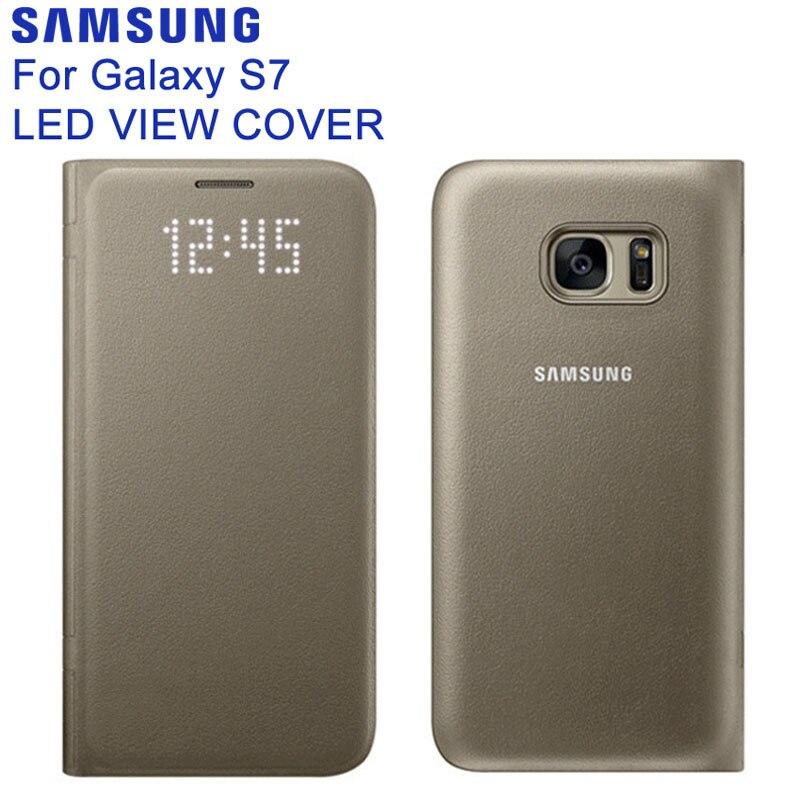 SAMSUNG Originale S7 Cassa Del Telefono Smart View Copertura di Vibrazione Della Cassa Del Raccoglitore per Samsung Galaxy S7 G930 LED In Pelle Opaca Borsette