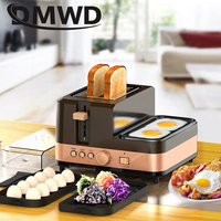 DMWD Electric Multifunction Breakfast Machine Bread Baking 2 Slices Toaster Oven Eggs Steamer sausage Omelette frying pan Grill