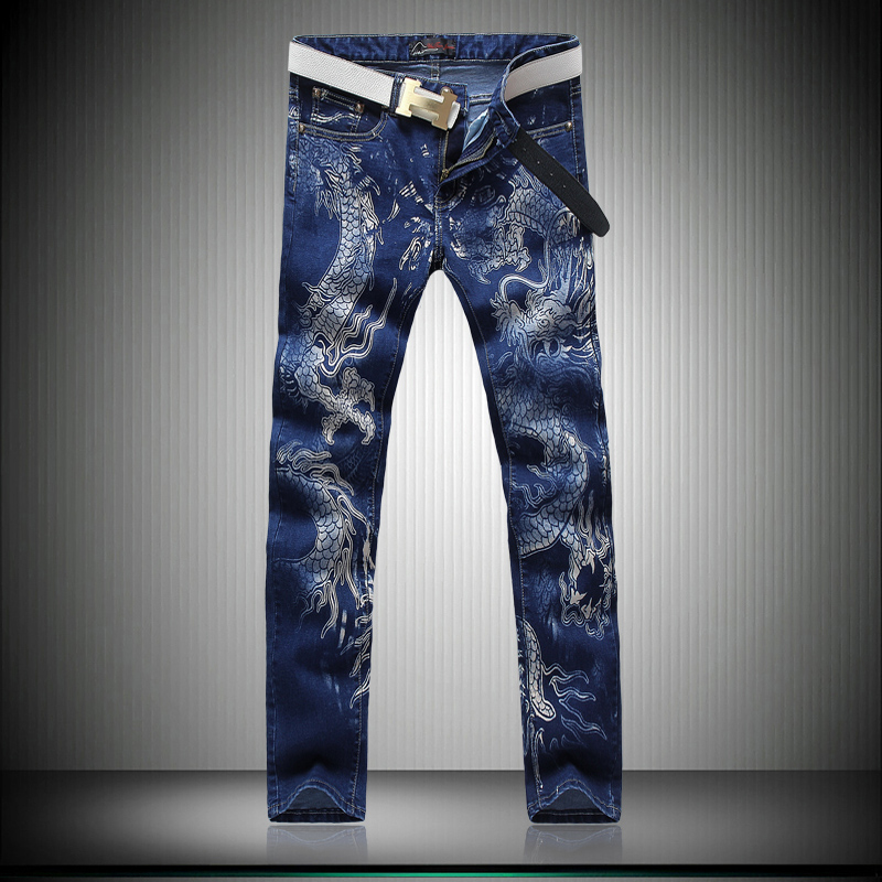 Four Season Men Personality Dragon Pattern Blue Jeans Male Slim Night Club Denim Pants Performance Punk Street Denim Trousers пена монтажная mastertex all season 750 pro всесезонная