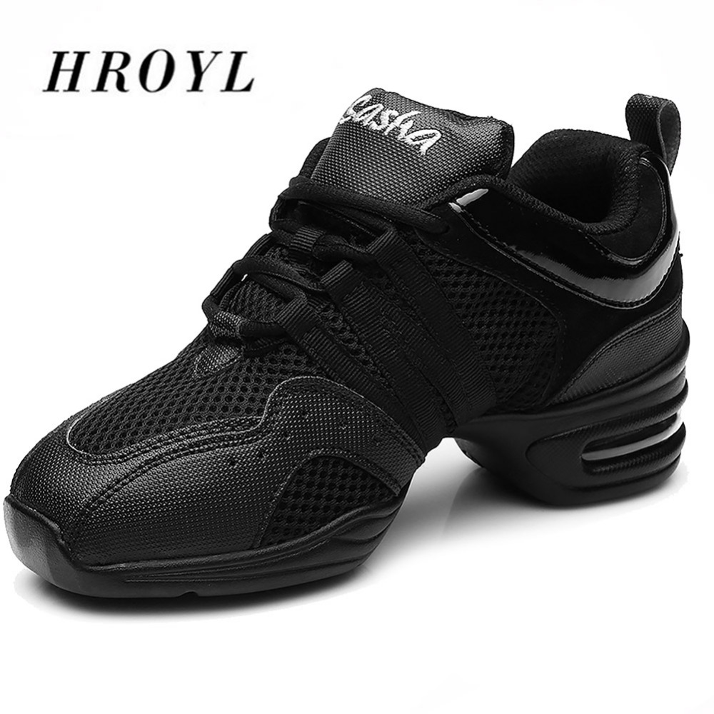 Fitness Soft Sole Dance Shoes Breathable Dance Sneakers Air Mesh Square Dancing Shoes Black White Jazz Hip Hop Shoes