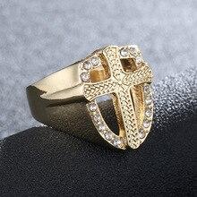 ファッションクリスタルゴールドトーン Knights Cross の指輪男性の祈りクリスチャンイエスバンドバイカーロックヒップホップ結婚式ジュエリー