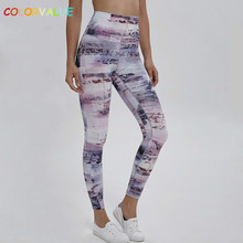 Colorvalue Anti-sweat New Print Gym Fitness Leggings Women 4-way Stretchy High Waist Workout Sport Tights Squatproof Yoga Pants