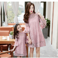 Mommy and me dresses family matching clothes beige pink floral lace princess dress mother and daughter spring autumn outfits