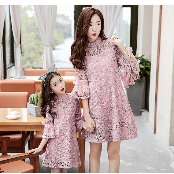 mommy and me dresses family matching clothes beige pink