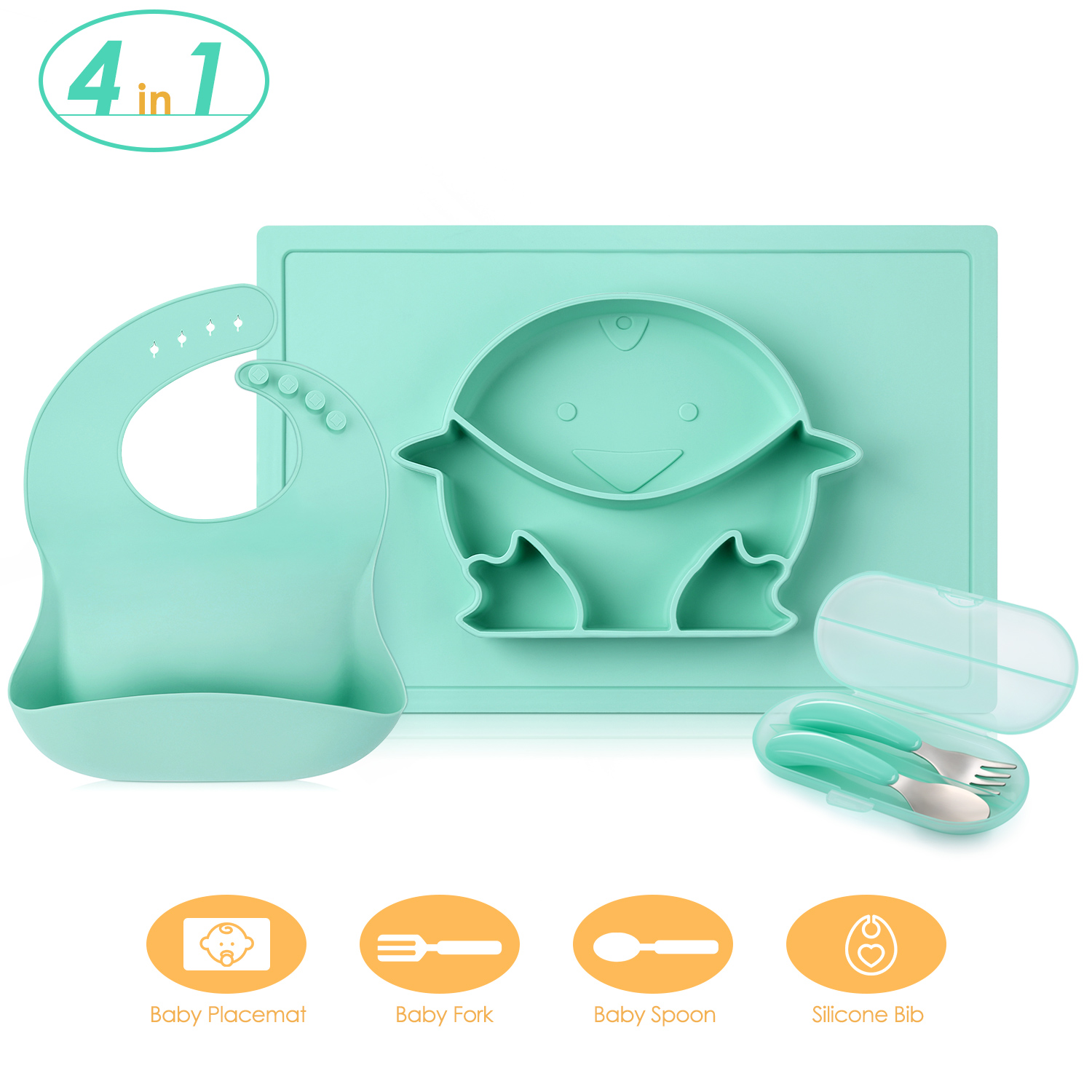 все цены на 4 In 1 Baby Silicone Dinnerware With Placemat / Bib / Fork / Spoon Baby Solid Feeding Tableware Set