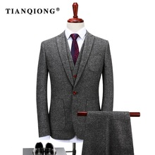 TIAN QIONG Custom Made Grey Tweed Formal Men Suit Slim Fit Classic Stylish Custom Men Tuxedo 3 Piece Wedding Tailor-made Suits