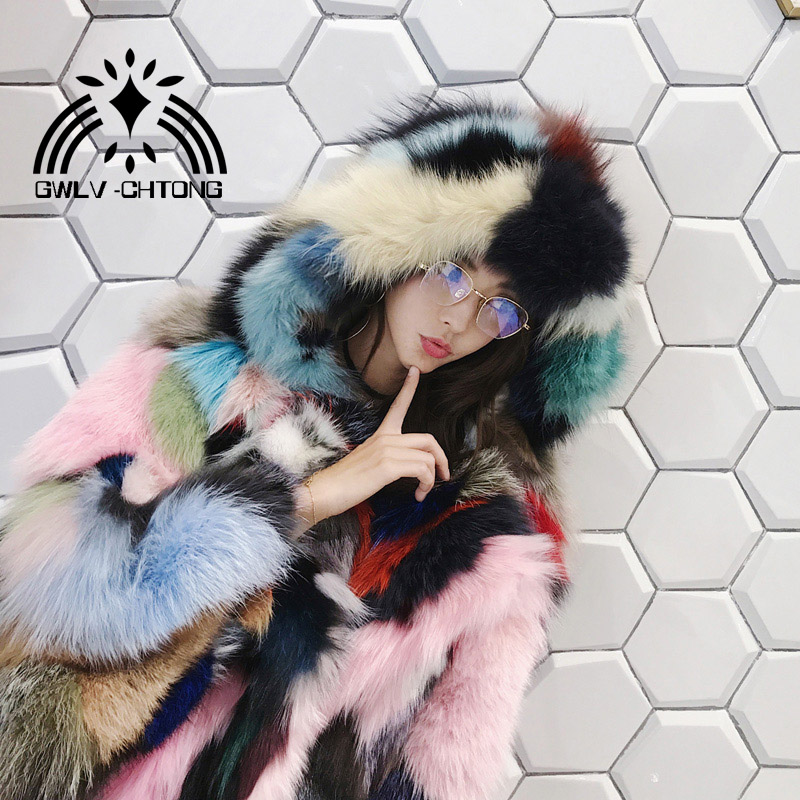 Real natural genuine fox fur coat with hood women fashion multi-color colorfull fur jacket ladies over coat outwear