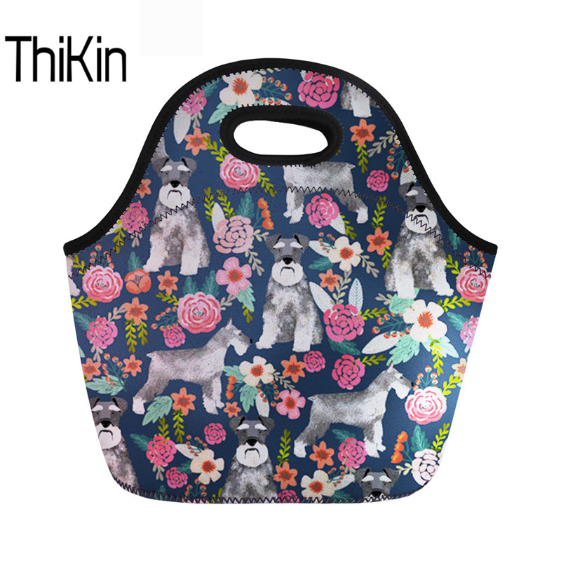 THIKIN Schnauzer Lunch Bag Thermal School Cooler Warm Handbag For Kids Girls Neoprene Insulated Thermal Picnic Food Bags Female
