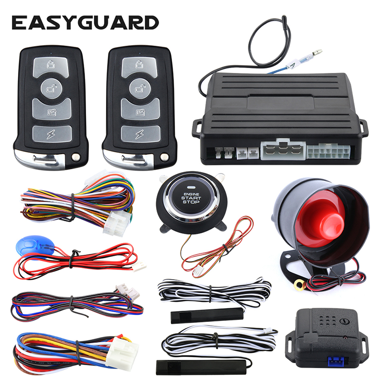 EASYGUARD universal PKE car alarm system passive keyless entry remote engine start push engine start vibration alarm DC12V easyguard pke car alarm system remote engine start