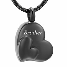 IJD12436 Black  Heart Custom Engraving Cremation for Ashes Urn Keepsake Pendant Necklace Memorial Womens