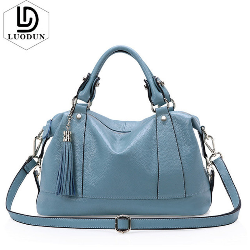 LUODUN Brand New High Quality Genuine Leather handbags Women Casual Tote Bag Female Shoulder Messenger Bags ladies shopping bag недорого