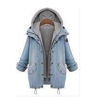 Liva Girl Autumn Winter Coat Jackets Casual Women Long Sleeve Hooded Warm Denim Jacket Warm Women