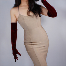 WomenS Velvet Gloves 60cm Long Wine Red Over Elbow Super Female High Elastic Gold Touch Screen SJH60
