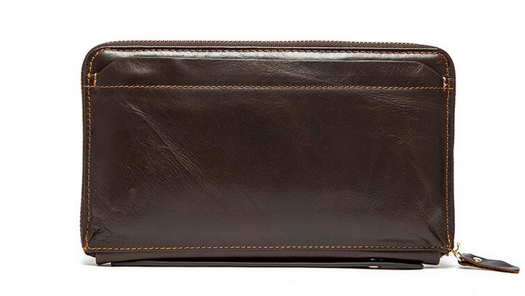 Men of money baotou layer leather hand bag long leather wallet-in Wallets from Luggage & Bags    1