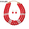 VIVILADY Fashion Hot Imitation Pearls Crystal Beads Layers Jewelry Sets Women African Handmade Boho Necklace Earrings Party Gift