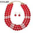 VIVILADY Moda Caliente Sistemas de la Joyería de Perlas de Imitación de Cristal Perlas Capas Mujeres Africanas Handmade Boho Aretes Collar de Regalo Del Partido