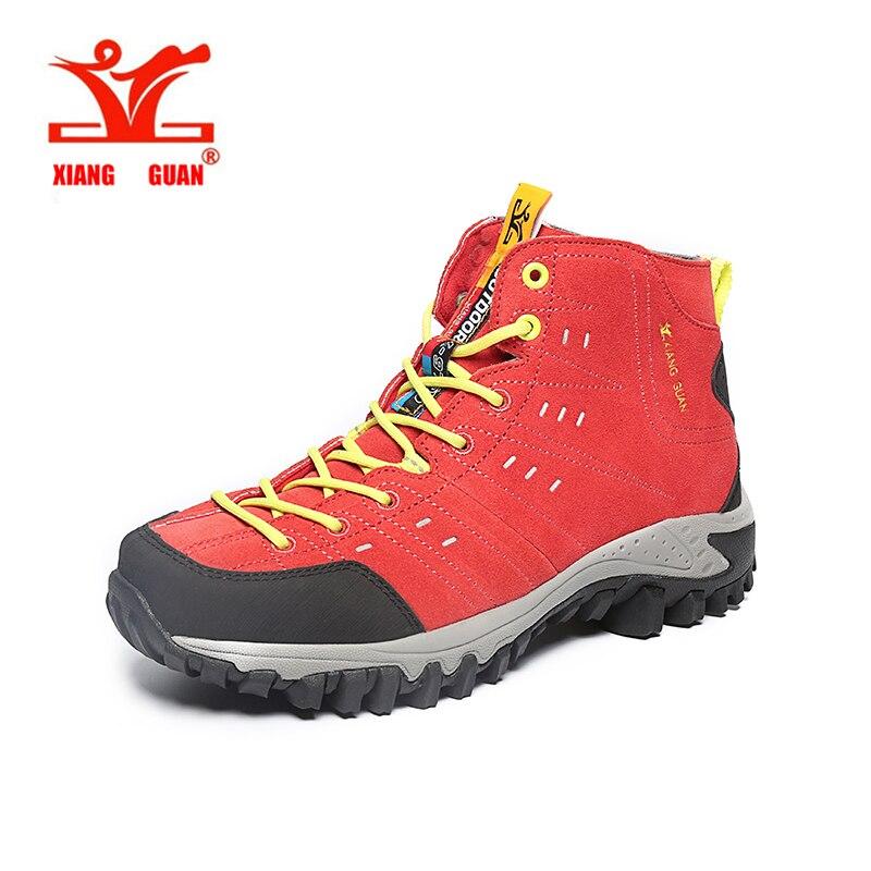 ФОТО XIANGGUAN New Woman Hiking Shoes Mesh Breathable Trekking Boots red Zapatillas Sports Climbing Shoe Outdoor Walking Sneakers