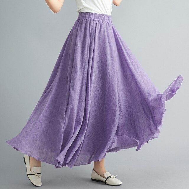 f44655ee1 Women Linen Cotton Long Skirts Plus Size Elastic Waist Pleated Maxi Skirts  Vintage 2 Layers Summer Skirts Faldas Saia feminina