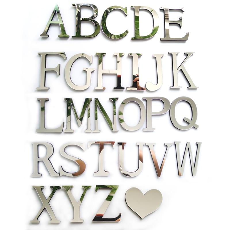 Autocollant mural avec miroirs 3D en acrylique, lettres anglaises, décoration de la maison, spéciale, à faire soi-même