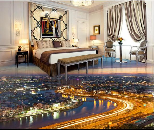 Customize D Flooring Pvc Wallpaper D Stereoscopic City Lights D - City lights wallpaper for bedroom