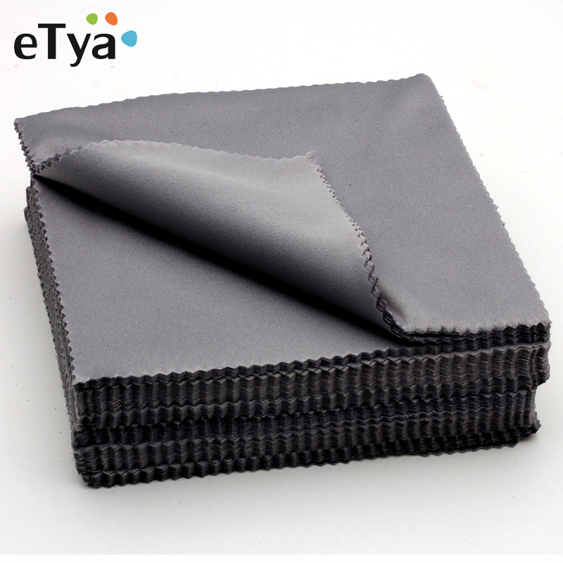 ETya New 10pcs Glasses Cloth Microfiber Cleaner Cloths Cleaning Glasses Lens Clothes Black Eyeglasses Cloth Eyewear Accessories
