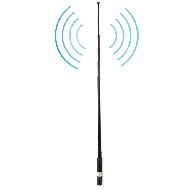 RH660S Dual Band 144/430 МГц с Высоким Коэффициентом Усиления SMA-F Телескопический Ручной Радио Антенна для Портативной Рации, Длина антенны: 108.5 см