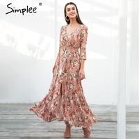 Simplee Boho Chic Maxi Summer Dress Women Elastic Causal Button Beach Long Dress Female Spring Print