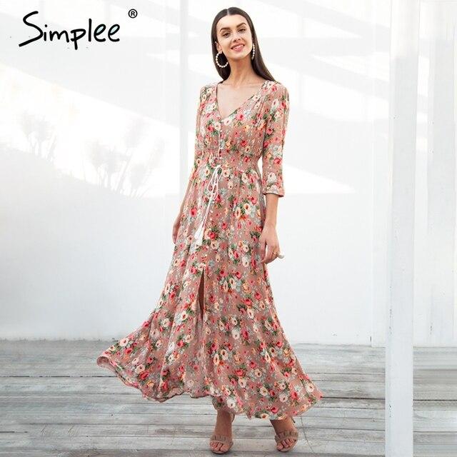 Simplee Boho Chic Макси летнее платье женские эластичные Причинно Кнопка пляжное длинное платье Женский Весна Принт vestidos платье роковой