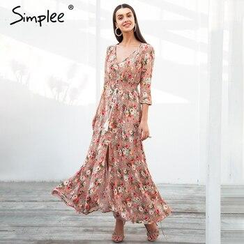 afded4e4bf Simplee Boho chic maxi vestido de verano Mujer elástica causal botón playa vestido  largo mujer primavera impresión vestidos vestido túnica Mujer