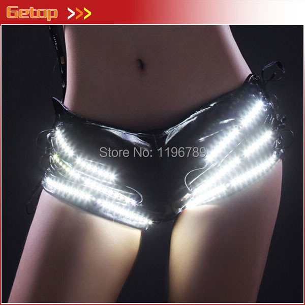 Christmas Decoration Sex Woman LED Shorts 5 Colors Stage Show Clothes wedding decoration LED clothes clothing for new year button decoration cami with drawstring shorts