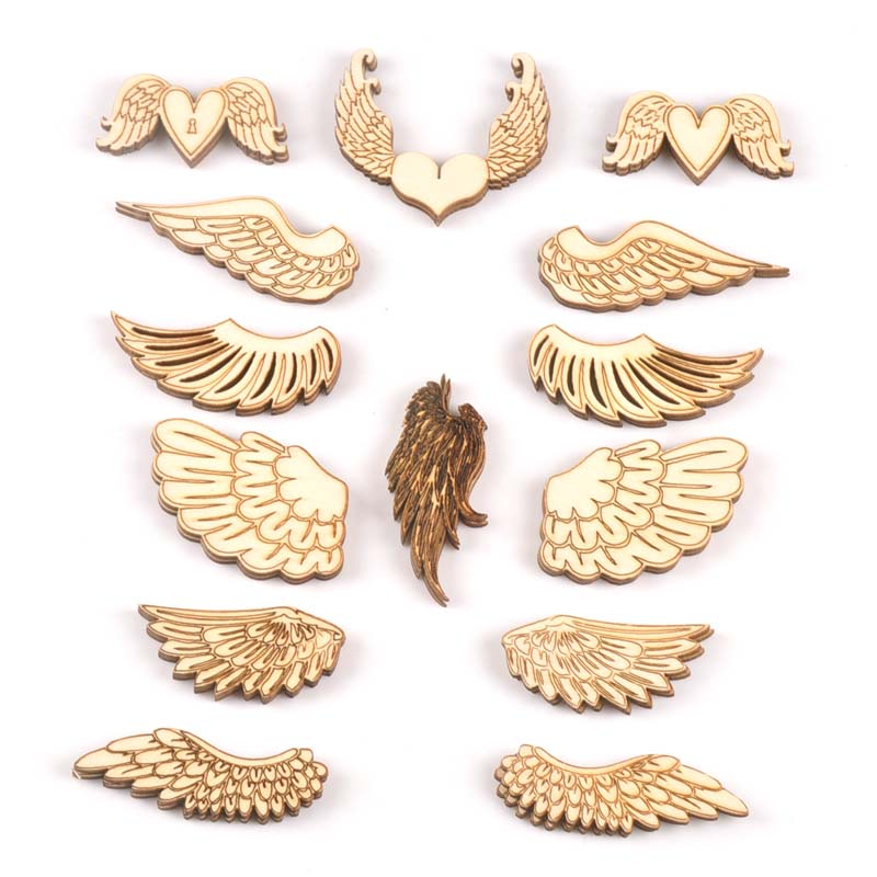 10pcs Wings Of An Angel Pattern Wooden Scrapbooking Art Collection Craft For Handmade Accessory Sewing Home Decoration M2143