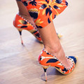 Mixed Colors Sexy Floral Women Pumps High Heels Fashion Design Spring Autumn Pumps Slip-On Shallow Women Celebrity Party Shoes
