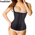 FeelinGirl Fashion 4 Row Hooks 9 Bone Strap Latex Waist Trainers Workout Latex Vest Waist Cincher Corsets -E
