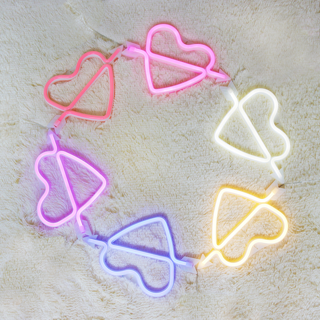 Heart Neon Lights Battery Operated & USB 5