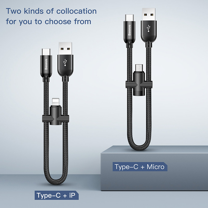 2in1 For usb c to lightning micro usb charging cable for iPhone Samsung huawei xiaomi fast charger usb cable 20 cm Short android-in Mobile Phone Cables from Cellphones & Telecommunications on AliExpress