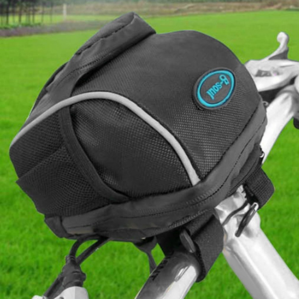 B-SOUL Bicycle Bike Handlebar Bag Waterproof Front Tube Pocket Shoulder Pack with Mountaineering Buckle & Rain-proof Cover