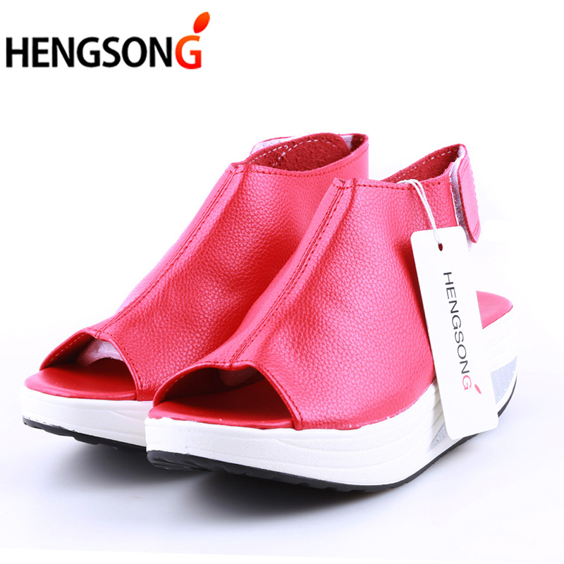 2017 Fashion Summer Sandals Women Shake Shoes Thick Wedges Slope Platform Head Leather Sandals Women Shoes AY911859 leisure korean thick bottom sandales sandalias summer new fish head sandals women s shoes slope with platform muffin baok 2717