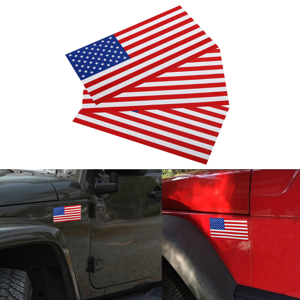 3PC 7.5x4 Removable Magnetic US Flag American Flag Car Bumper Decal Outdoor Magnet Signs Car Stickers on Left #SGB-10-3-TL