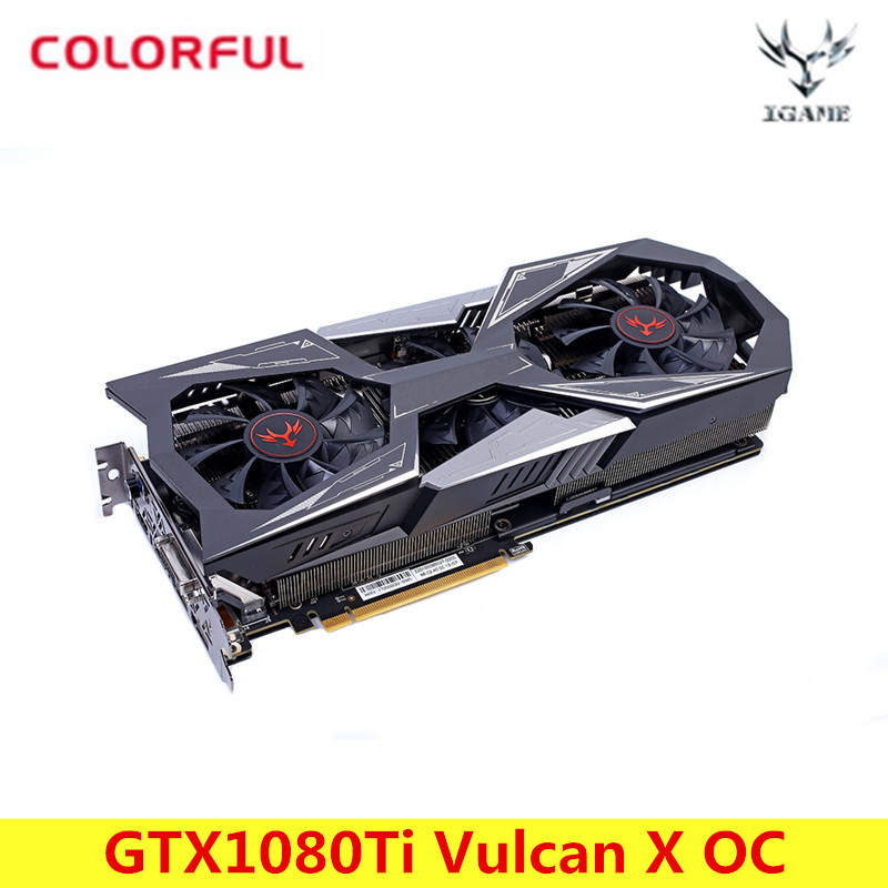 Colorful NVIDIA IGame GeForce GTX1080Ti Vulcan X OC Video Graphics Card 11G GDDR5X 1620MHz 16nm 352bit