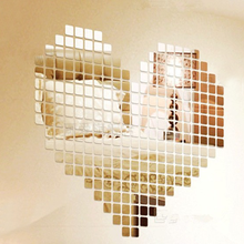 100 piece mirror wall sticker 3D decal mosaic room decor stick 2017 modern high quality on top selling new arrival home decor
