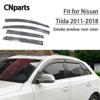 CNparts 4pcs ABS For Nissan Tiida C12 2011 2012 2013 2014-2018 Car Smoke Window Visor Keep  Fresh Air  convection Accessories