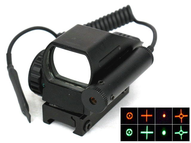 Hunting Tactical Holographic Reflex Red / Green Reflex Scope with Laser Sight Combo 4 Reticles for Airsoft Standard Weaver Rail