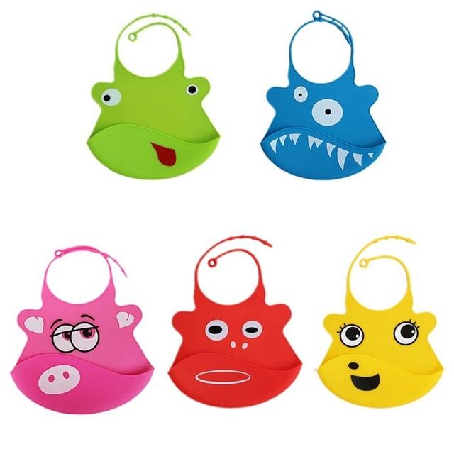 Cartoon Print Children Silicone Bibs Baby Summer Adjustable Bib Waterproof Baby Feeding Tools Boy Girl Bibs Apron