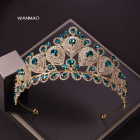 High end large bride green crown beauty pageant stage headdress personality retro palace queen crown female jewelry HD301