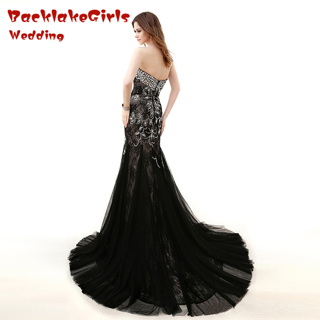 2017 Charming Black Peacock Long Evening Dress Crystal Beads Mermaid Sweetheart Zipper New Customized Porm Celebrity Dresses 1