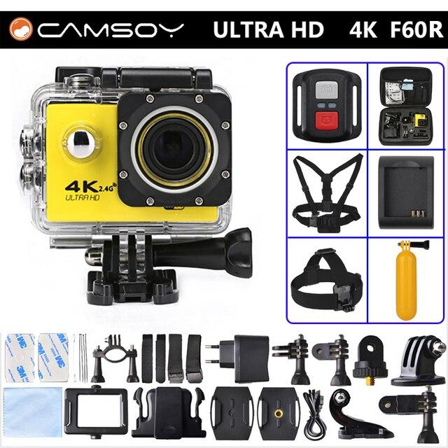 Estilo gopro hero 4 f60r action camera 4 k 30fps wifi allwinner V3 KAMERA Controle Remoto ir pro Esporte Câmera Mini Cam À Prova D' Água
